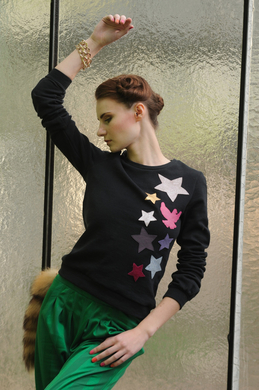 FENJA LUDWIG - Sweater mit Lederapplikation